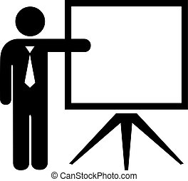 Teacher and blank screen icon isolated on white background