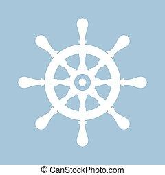 Ship steering wheel icon - Ship steering wheel vector icon