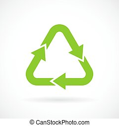 Green recycle sign - Green recycle vector sign