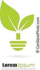 Green alternative energy logo isolated on white background