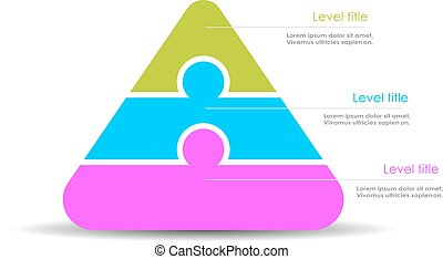 Pyramid diagram template isolated on white background