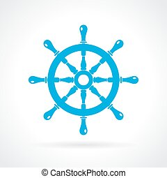 Helm wheel icon - Helm wheel vector icon