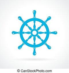 Helm wheel icon - Helm wheel vector icon