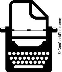 Old retro typewriter icon on white background