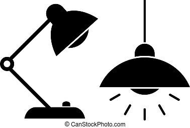 Lamp light icons set