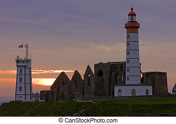lighthouse and ruins of monastery, Pointe de Saint Mathieu,...