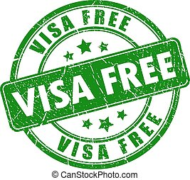 Visa free rubber stamp isolated on white background