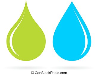 Green and blue water drops isolated on white background
