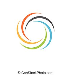 Isolated abstract colorful circular sun logo. Round shape...