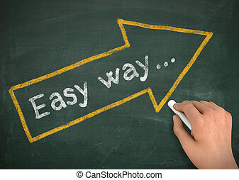 easy way chalkboard write concept 3d illustration - easy way...