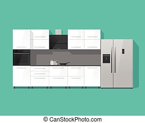 Kitchen interior cabinets furniture vector illustration isolated