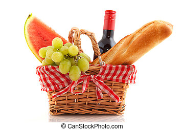 Picnic basket with food