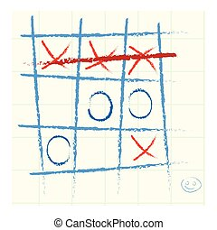 Tic-tac-toe icon in cartoon style isolated on white...