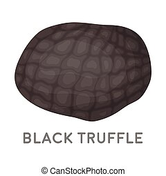 Black truffles icon in cartoon style isolated on white...