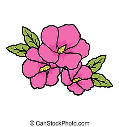 Rose of sharon icon in cartoon style isolated on white...