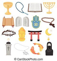 Religion set icons in cartoon style. Big collection of religion vector illustration symbol.