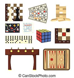 Board games set icons in cartoon style. Big collection of...
