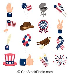 Patriot Day set icons in cartoon style. Big collection of Patriot Day vector illustration symbol.