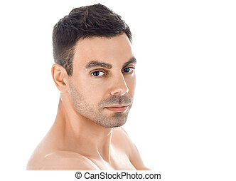 Closeup portrait of handsome man with healthy clean skin...