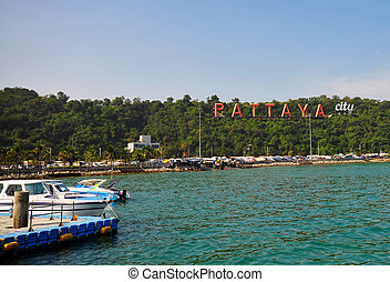 Pattaya - Sign with the name of the city Pattaya, Thailand...