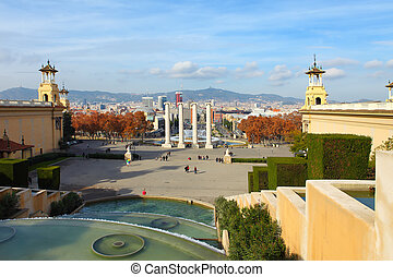 Montjuic fountain on Plaza de Espanya in Barcelona, Spain