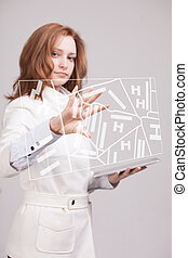 Future technology, navigation, location concept Woman...