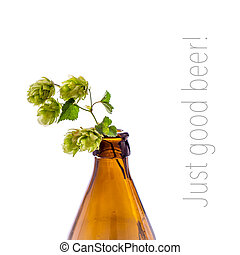 Beer bottle with hop branch