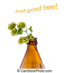 Beer bottle with hop branch, isolated