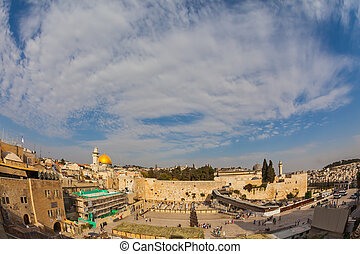 Windy autumn day - The area of the Western Wall of the...