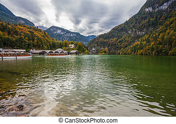 Boat garages on lake Konigssee - Boat garages on the shores...