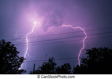 Thunderbolt over the house and dark stormy sky on the...