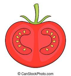Fresh red tomato icon, cartoon style - Fresh red tomato icon...