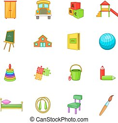 Kindergarten security icons set, cartoon style -...