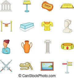 Museum icons set, cartoon style - Museum icons set in...