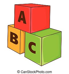 Children cubes with letters icon, cartoon style