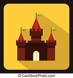 Castle icon in flat style on a white background vector...