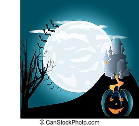 Halloween pumpkins and dark castle on blue Moon background,...