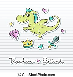 cute cartoon dragon - vector cute cartoon dragon, symbol of...