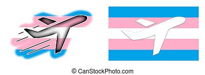 Flag - Airplane isolated - Transgender flag - Flag -...