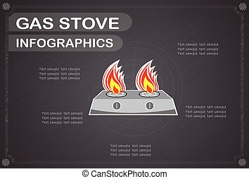 Gas stove  infographics, Vector illustration.