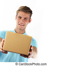 Young courier delivering a package. Isolated on white