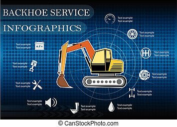 Backhoe service, repair Infographics. vector illustration