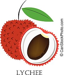 Lychee flat icon. Vector illustration, eps 10