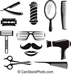 Set of  barber shop elements.