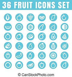 icons fruit color thin white in the circle blue on white background