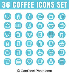 icons coffee color thin white in the circle blue on white background