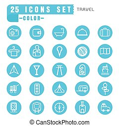 icons travel color thin white in the circle blue on white background