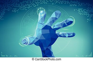 hand - low poly hand touching interface; scientific...