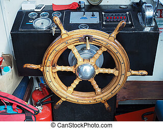 Ship's Wheel in the Cabin of the Mark Twain Tourist Boat on...