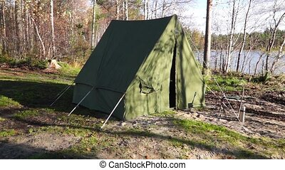 Oldschool tent near forest lake pan - Panorama retro tent in...